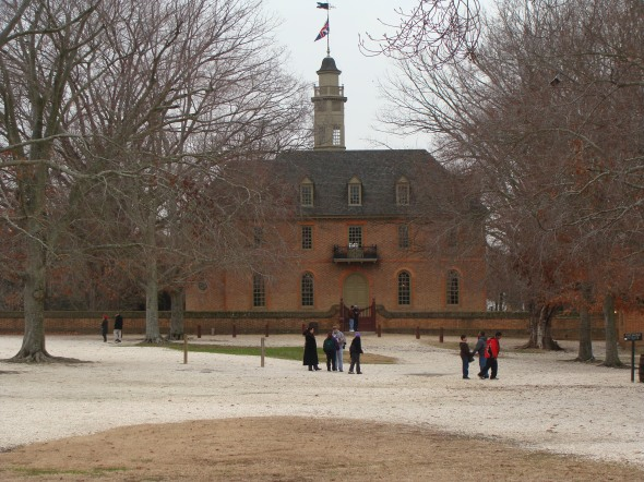 "Back side of the COlonial Capitol where Patrick Henry gave his ""Give me liberty or give me death"" seech."