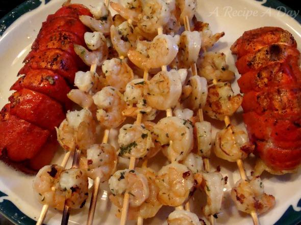 Grilled lobster and shrimp added
