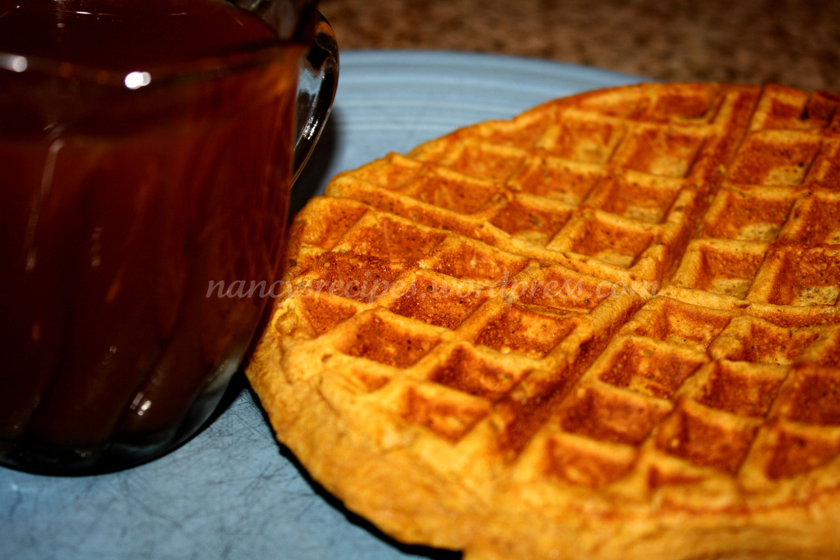 Pumpkin Waffles and Apple Cider Syrup | A Recipe A Day
