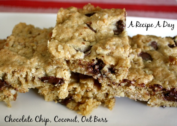Chocolate Chip, Coconut, Oat Bars
