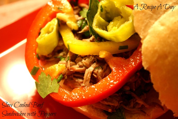 Slow Cooked Beef Sandwiches with Peppers