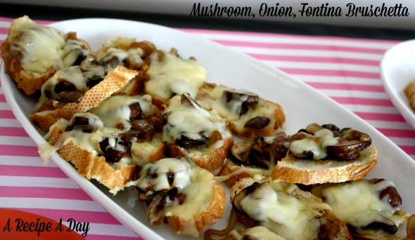 Mushroom, Onion, Fontina Bruschetta